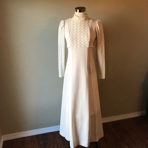 Vintage 70s Long Sleeve Cream High Neck Maxi Dress